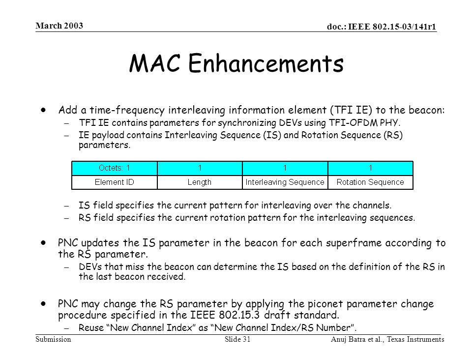 doc.: IEEE 802.15-03/141r1 Submission March 2003 Anuj Batra et al., Texas InstrumentsSlide 31 MAC Enhancements  Add a time-frequency interleaving information element (TFI IE) to the beacon:  TFI IE contains parameters for synchronizing DEVs using TFI-OFDM PHY.