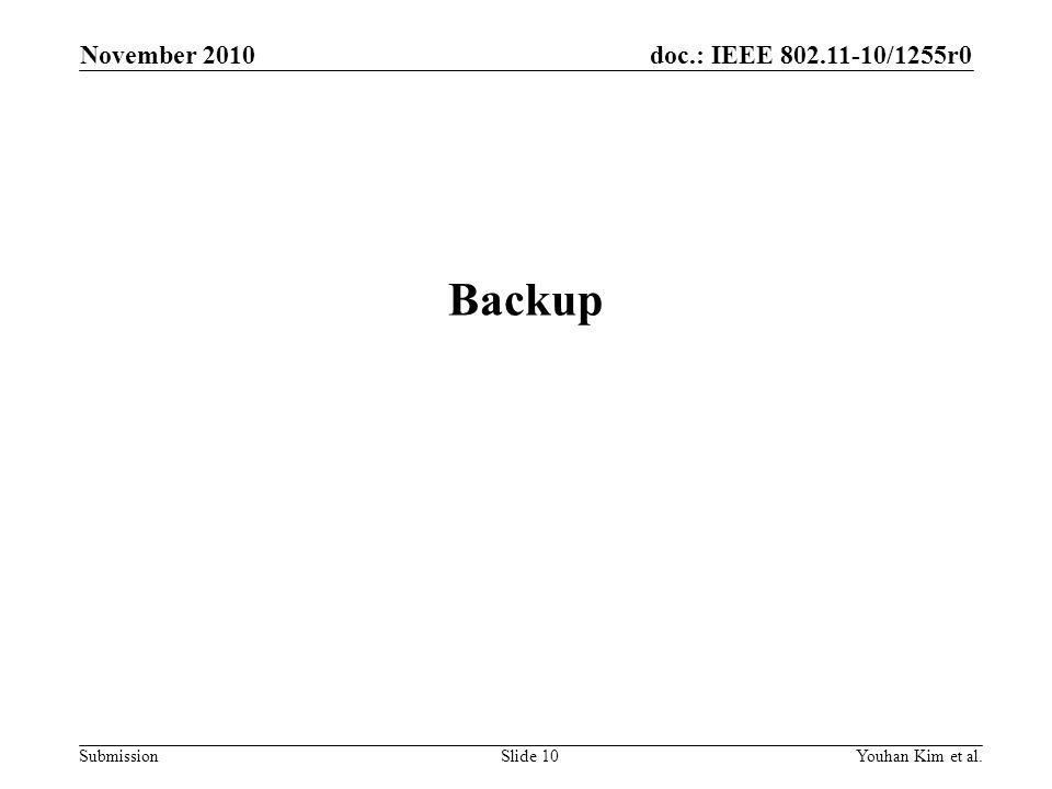 doc.: IEEE 802.11-10/1255r0 Submission Backup November 2010 Youhan Kim et al.Slide 10