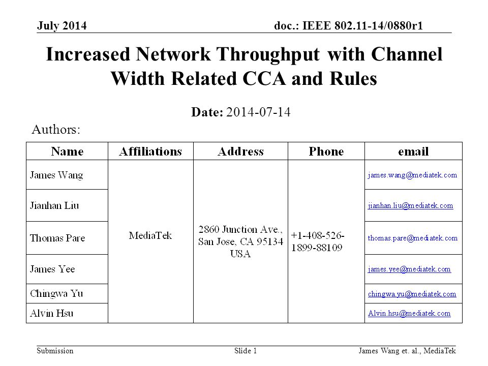 doc.: IEEE 802.11-14/0880r1 Submission July 2014 James Wang et.