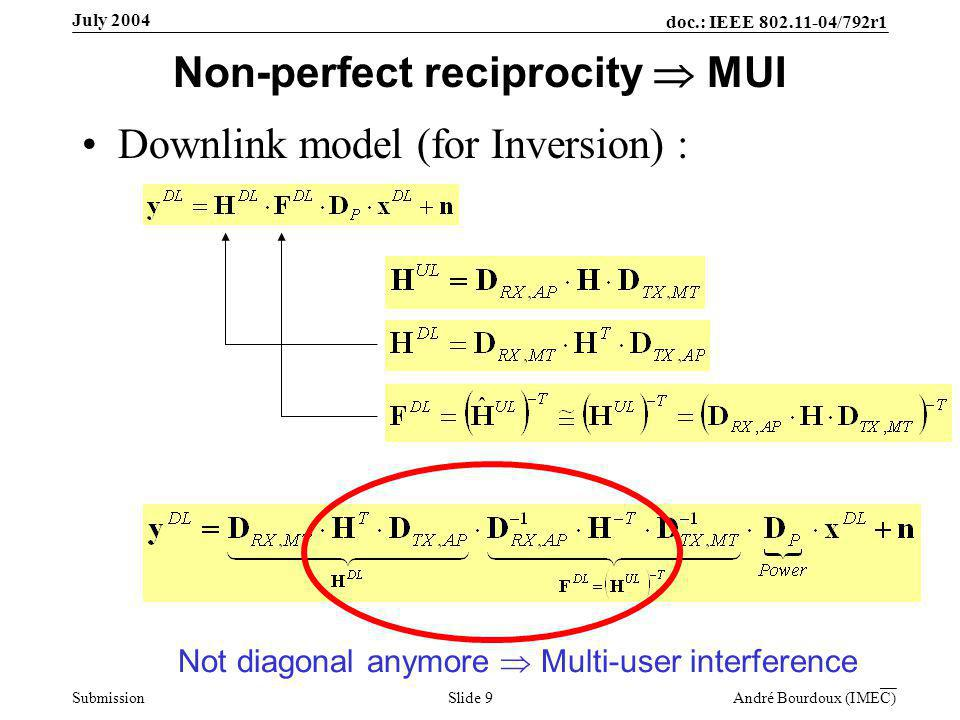 doc.: IEEE 802.11-04/792r1 Submission Slide 9 André Bourdoux (IMEC) July 2004 Non-perfect reciprocity  MUI Downlink model (for Inversion) : Not diagonal anymore  Multi-user interference
