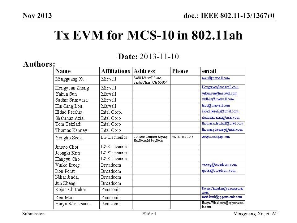 doc.: IEEE 802.11-13/1367r0 Submission Nov 2013 Mingguang Xu, et.