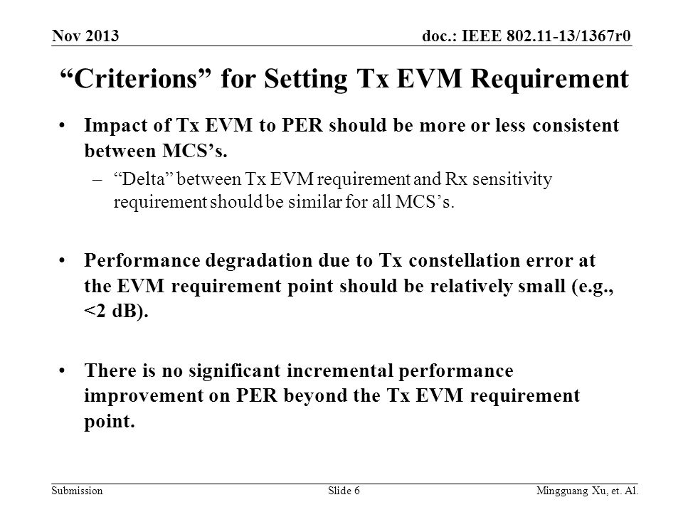 doc.: IEEE 802.11-13/1367r0 SubmissionSlide 6 Criterions for Setting Tx EVM Requirement Impact of Tx EVM to PER should be more or less consistent between MCS's.