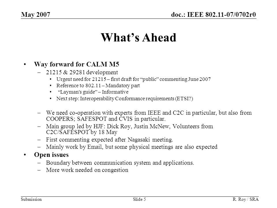 doc.: IEEE 802.11-07/0702r0 Submission May 2007 R.