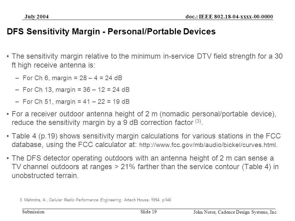 doc.: IEEE 802.18-04-xxxx-00-0000 Submission July 2004 John Notor, Cadence Design Systems, Inc. Slide 19 DFS Sensitivity Margin - Personal/Portable De