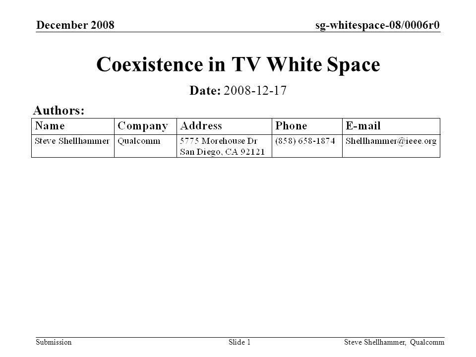 sg-whitespace-08/0006r0 Submission December 2008 Steve Shellhammer, QualcommSlide 1 Coexistence in TV White Space Date: Authors: