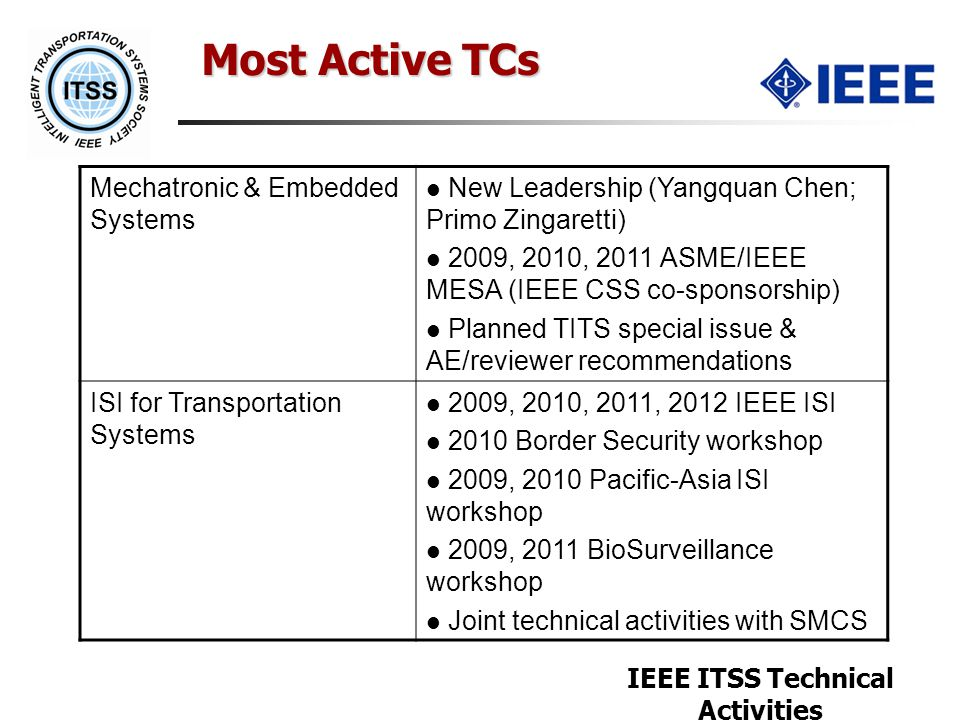 IEEE ITSS Technical Activities Most Active TCs Mechatronic & Embedded Systems New Leadership (Yangquan Chen; Primo Zingaretti) 2009, 2010, 2011 ASME/I