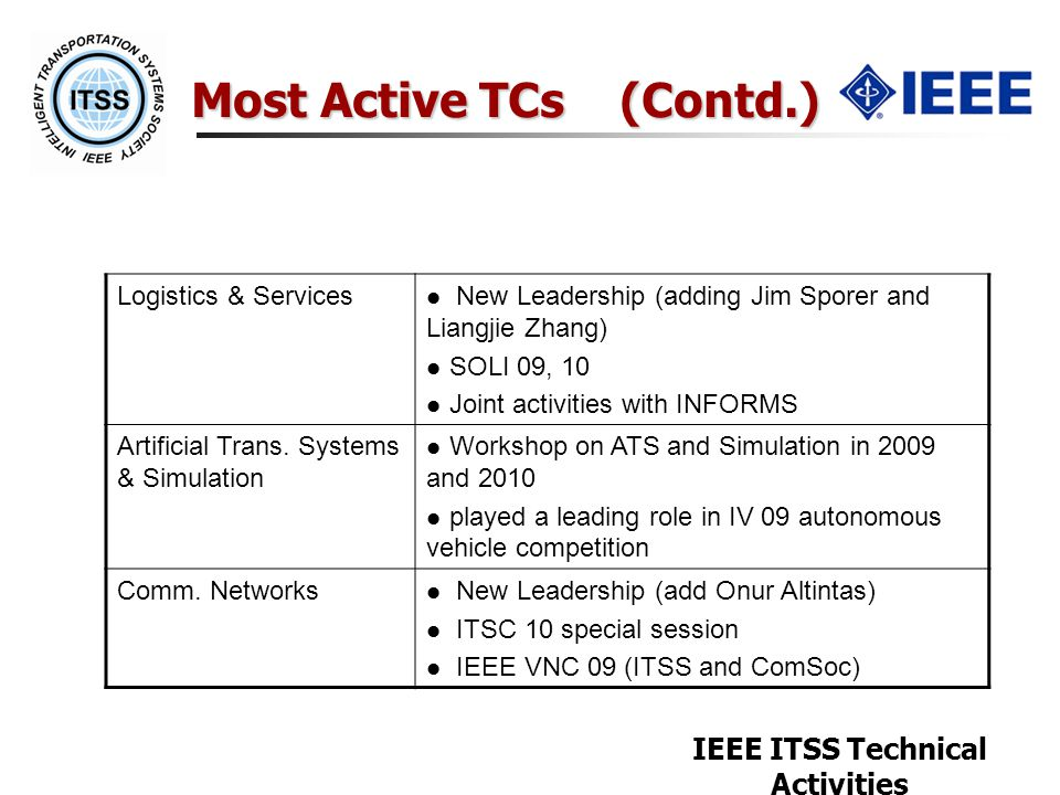 IEEE ITSS Technical Activities Most Active TCs (Contd.) Logistics & Services New Leadership (adding Jim Sporer and Liangjie Zhang) SOLI 09, 10 Joint a