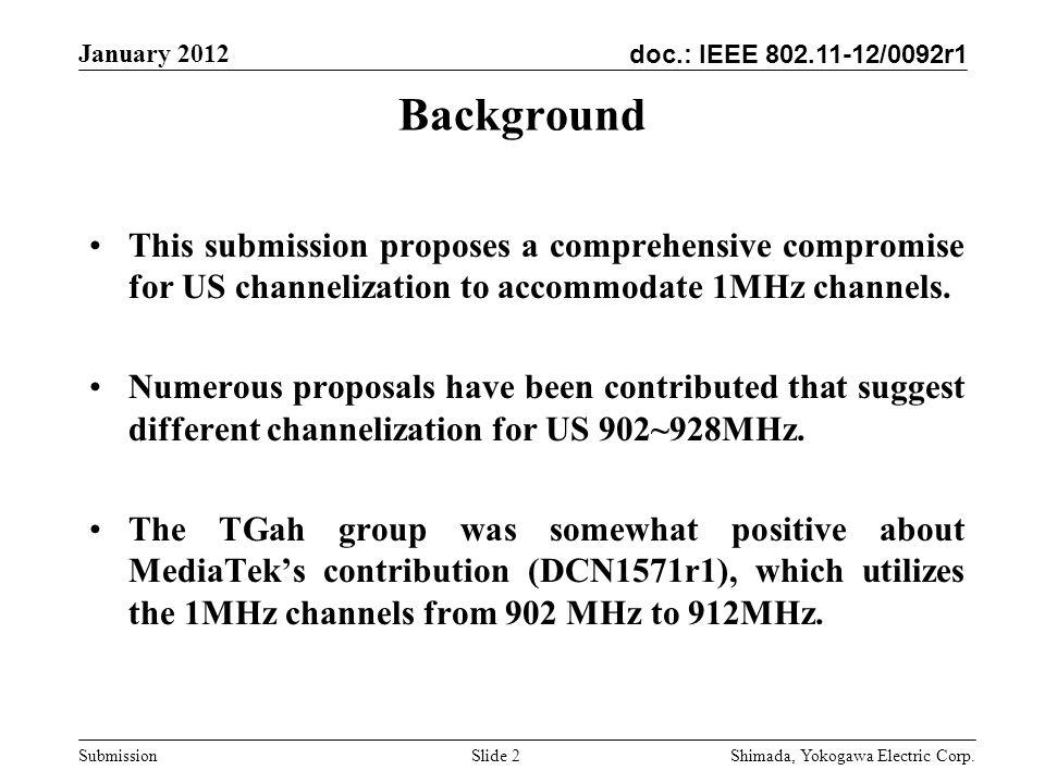 doc.: IEEE 802.11-12/0092r1 January 2012 Shimada, Yokogawa Electric Corp.