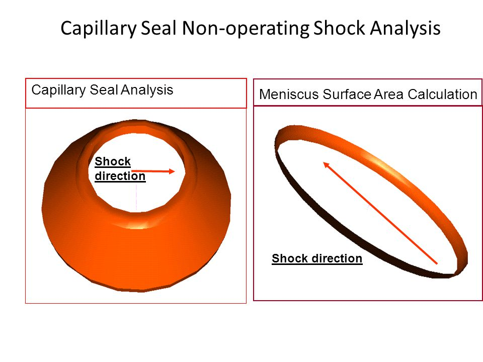 Capillary Seal Analysis Meniscus Surface Area Calculation Shock direction Capillary Seal Non-operating Shock Analysis