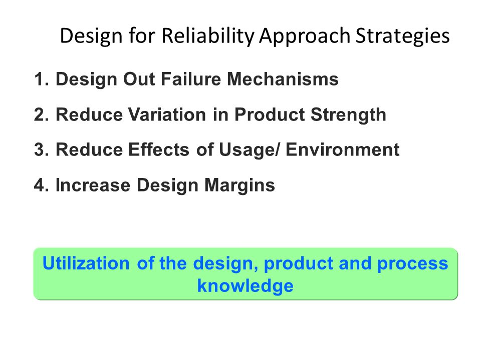 1.Design Out Failure Mechanisms 2.Reduce Variation in Product Strength 3.Reduce Effects of Usage/ Environment 4.Increase Design Margins Utilization of the design, product and process knowledge Design for Reliability Approach Strategies