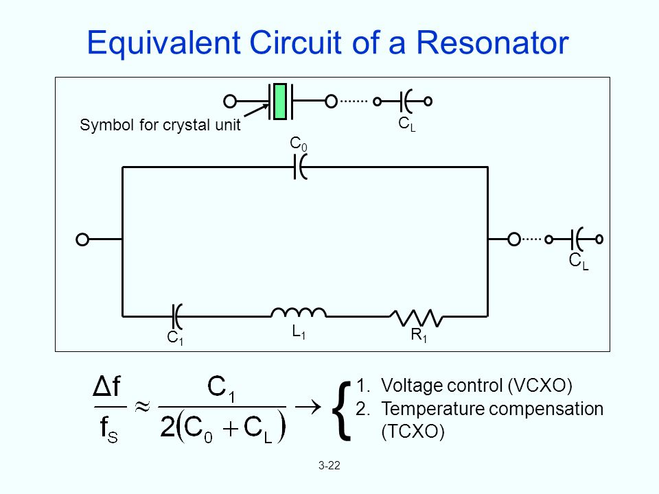 3-22 { 1. Voltage control (VCXO) 2. Temperature compensation (TCXO) Symbol for crystal unit CLCL C1C1 L1L1 R1R1 C0C0 CLCL Equivalent Circuit of a Reso