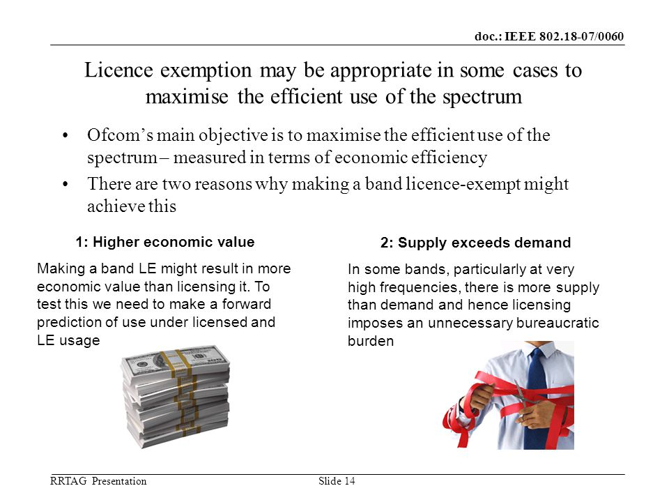 doc.: IEEE 802.18-07/0060 RRTAG Presentation ©Ofcom Slide 14 Licence exemption may be appropriate in some cases to maximise the efficient use of the spectrum Ofcom's main objective is to maximise the efficient use of the spectrum – measured in terms of economic efficiency There are two reasons why making a band licence-exempt might achieve this 1: Higher economic value Making a band LE might result in more economic value than licensing it.