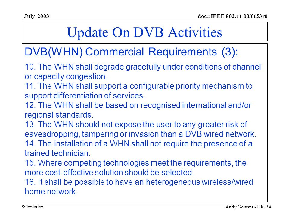 doc.: IEEE 802.11-03/0653r0 Submission July 2003 Andy Gowans - UK RA Update On DVB Activities DVB(WHN) Commercial Requirements (3): 10.