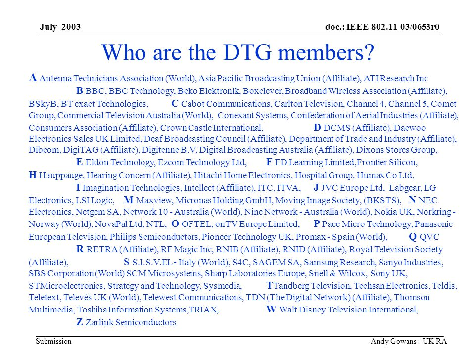 doc.: IEEE 802.11-03/0653r0 Submission July 2003 Andy Gowans - UK RA Who are the DTG members.