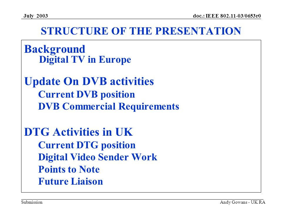 doc.: IEEE 802.11-03/0653r0 Submission July 2003 Andy Gowans - UK RA Background Digital TV Rollout.