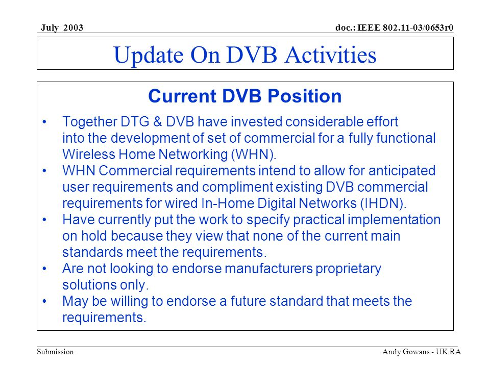 doc.: IEEE 802.11-03/0653r0 Submission July 2003 Andy Gowans - UK RA Update On DVB Activities Current Wired Architecture
