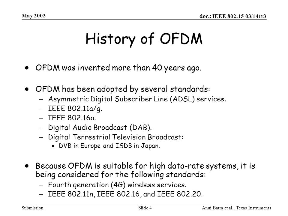 doc.: IEEE 802.15-03/141r3 Submission May 2003 Anuj Batra et al., Texas InstrumentsSlide 55 Peak-to-Average Ratio (PAR) for TFI-OFDM  Average TX Power = –9.5 dBm (this value includes pilot tones)  PAR of 9 dB results in:  Impact of clipping at TX DAC is negligible.