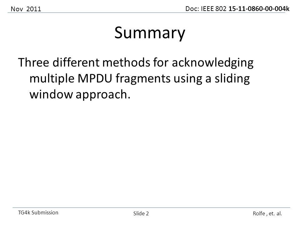 Doc: IEEE 802 15-11-0860-00-004k TG4k Submission Simple, but limited Bit 01234567 Fragm 12345678 Nov 2011 Rolfe, et.