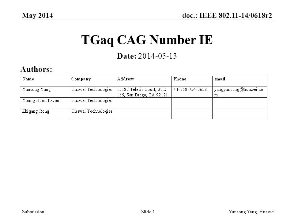 doc.: IEEE 802.11-14/0618r2 Submission May 2014 Yunsong Yang, HuaweiSlide 1 TGaq CAG Number IE Date: 2014-05-13 Authors: