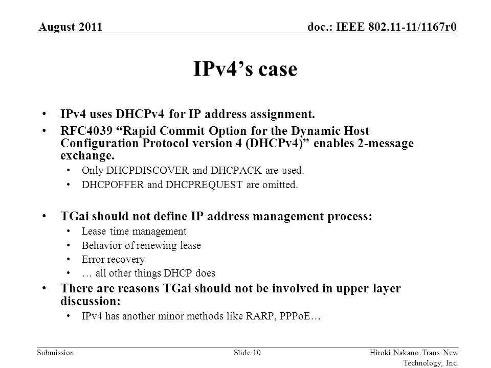 Submission doc.: IEEE 802.11-11/1167r0August 2011 Hiroki Nakano, Trans New Technology, Inc.