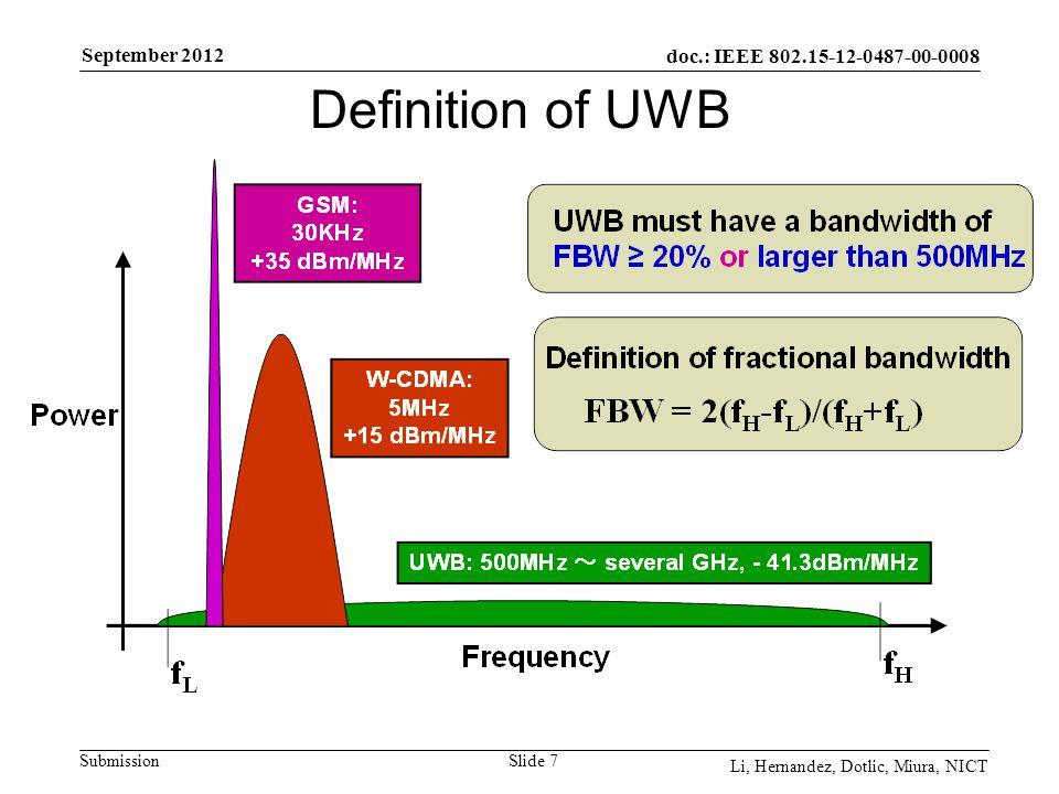 doc.: IEEE 802.15-12-0487-00-0008 Submission September 2012 Li, Hernandez, Dotlic, Miura, NICT Slide 7 Definition of UWB