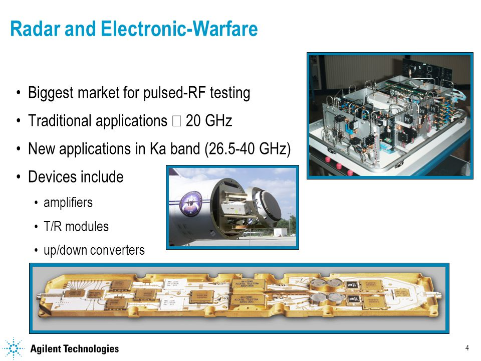 4 Radar and Electronic-Warfare Biggest market for pulsed-RF testing Traditional applications  20 GHz New applications in Ka band ( GHz) Devices include amplifiers T/R modules up/down converters