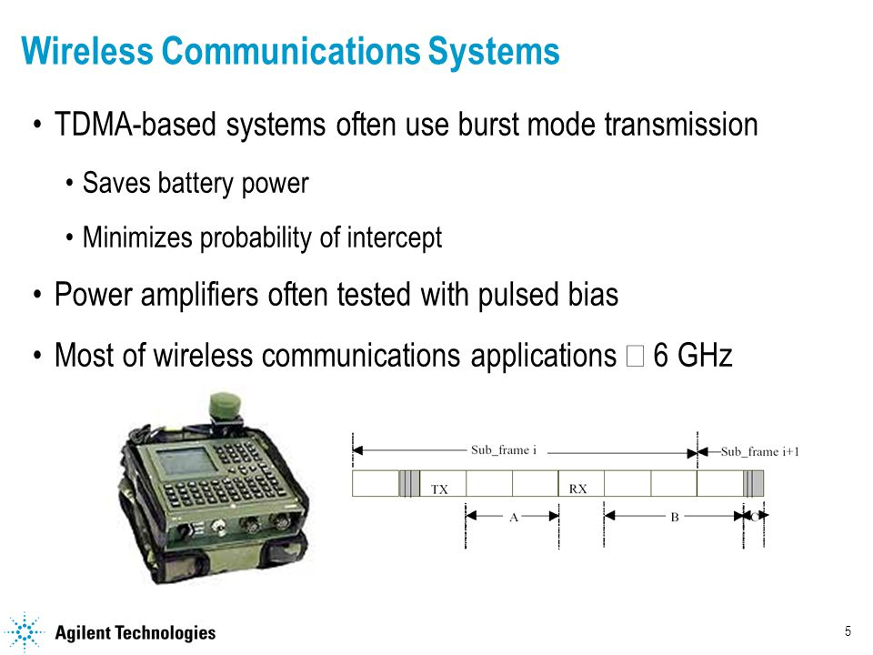 5 Wireless Communications Systems TDMA-based systems often use burst mode transmission Saves battery power Minimizes probability of intercept Power amplifiers often tested with pulsed bias Most of wireless communications applications  6 GHz