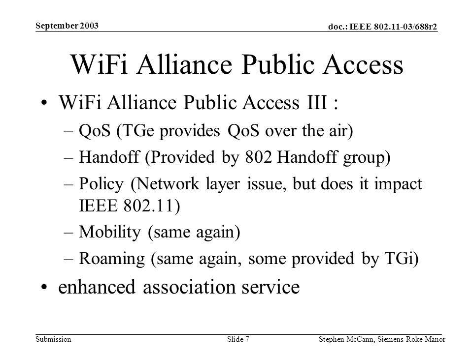 doc.: IEEE 802.11-03/688r2 Submission September 2003 Stephen McCann, Siemens Roke ManorSlide 7 WiFi Alliance Public Access WiFi Alliance Public Access