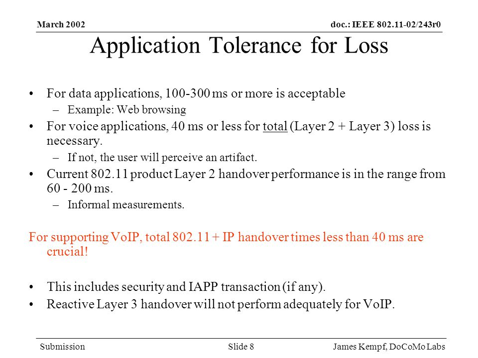 doc.: IEEE /243r0 Submission March 2002 James Kempf, DoCoMo LabsSlide 8 Application Tolerance for Loss For data applications, ms or more is acceptable –Example: Web browsing For voice applications, 40 ms or less for total (Layer 2 + Layer 3) loss is necessary.