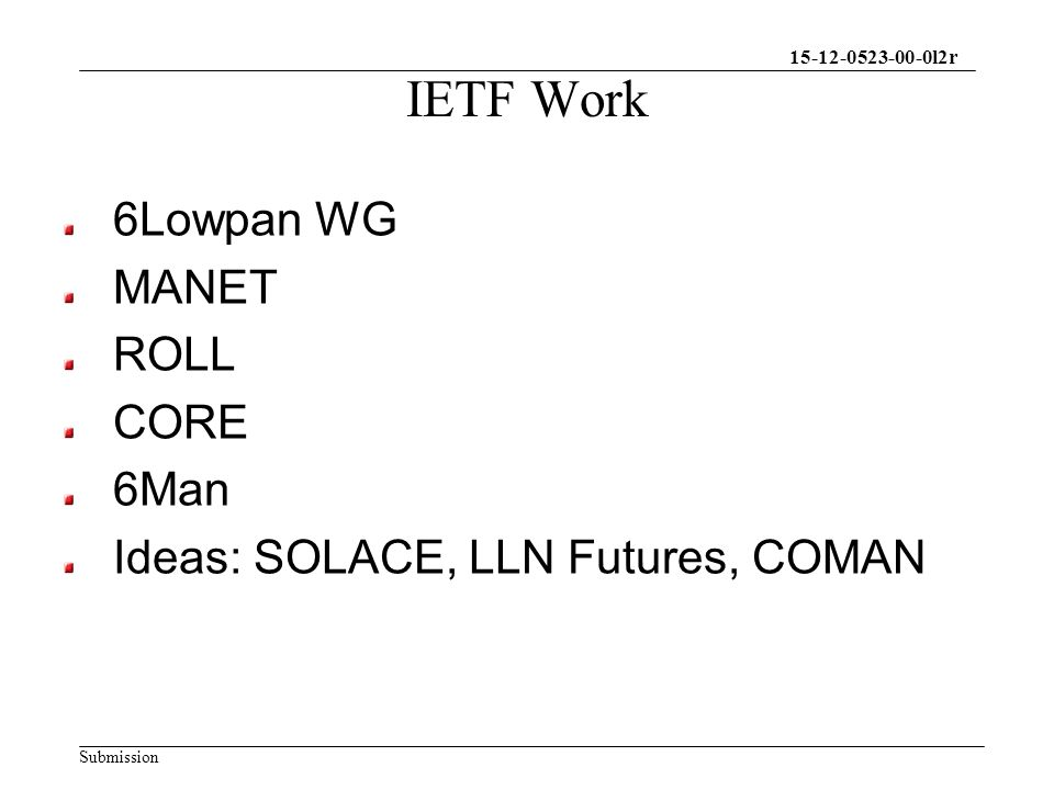 15-12-0523-00-0l2r Submission IETF Work 6Lowpan WG MANET ROLL CORE 6Man Ideas: SOLACE, LLN Futures, COMAN