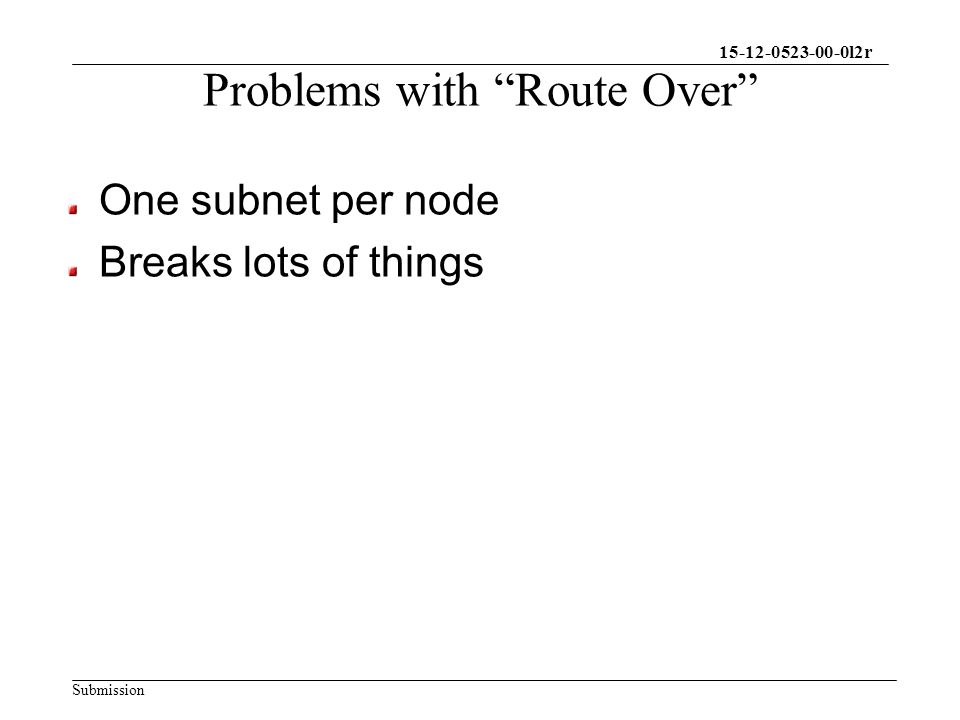 15-12-0523-00-0l2r Submission Problems with Route Over One subnet per node Breaks lots of things
