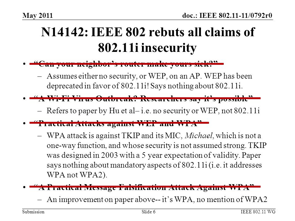 doc.: IEEE 802.11-11/0792r0 Submission N14142: IEEE 802 rebuts all claims of 802.11i insecurity Can your neighbor's router make yours sick? –Assumes either no security, or WEP, on an AP.
