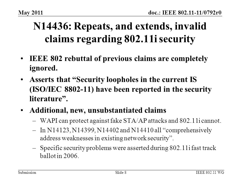 doc.: IEEE 802.11-11/0792r0 Submission N14436: Repeats, and extends, invalid claims regarding 802.11i security IEEE 802 rebuttal of previous claims are completely ignored.