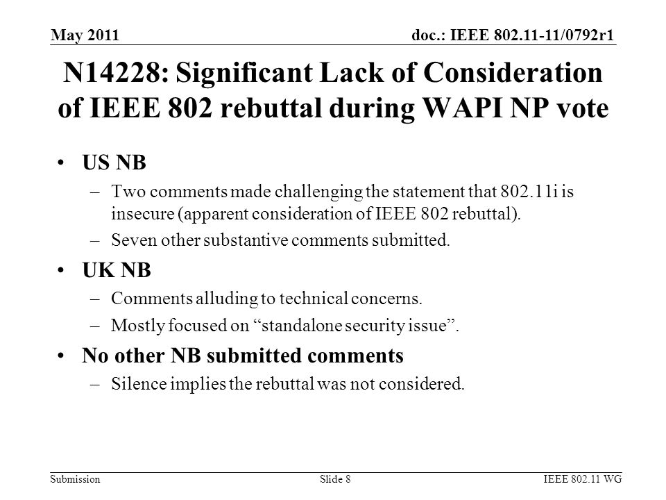 doc.: IEEE 802.11-11/0792r1 Submission N14228: Significant Lack of Consideration of IEEE 802 rebuttal during WAPI NP vote US NB –Two comments made challenging the statement that 802.11i is insecure (apparent consideration of IEEE 802 rebuttal).