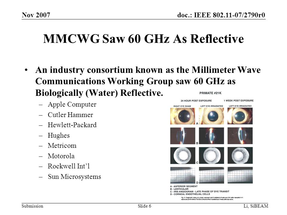 doc.: IEEE 802.11-07/2790r0 Submission Nov 2007 Li, SiBEAMSlide 6 MMCWG Saw 60 GHz As Reflective An industry consortium known as the Millimeter Wave Communications Working Group saw 60 GHz as Biologically (Water) Reflective.