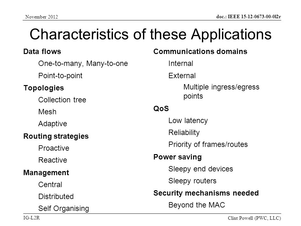 doc.: IEEE 15-12-0673-00-0l2r IG-L2R November 2012 Clint Powell (PWC, LLC) Characteristics of these Applications Data flows One-to-many, Many-to-one Point-to-point Topologies Collection tree Mesh Adaptive Routing strategies Proactive Reactive Management Central Distributed Self Organising Communications domains Internal External Multiple ingress/egress points QoS Low latency Reliability Priority of frames/routes Power saving Sleepy end devices Sleepy routers Security mechanisms needed Beyond the MAC