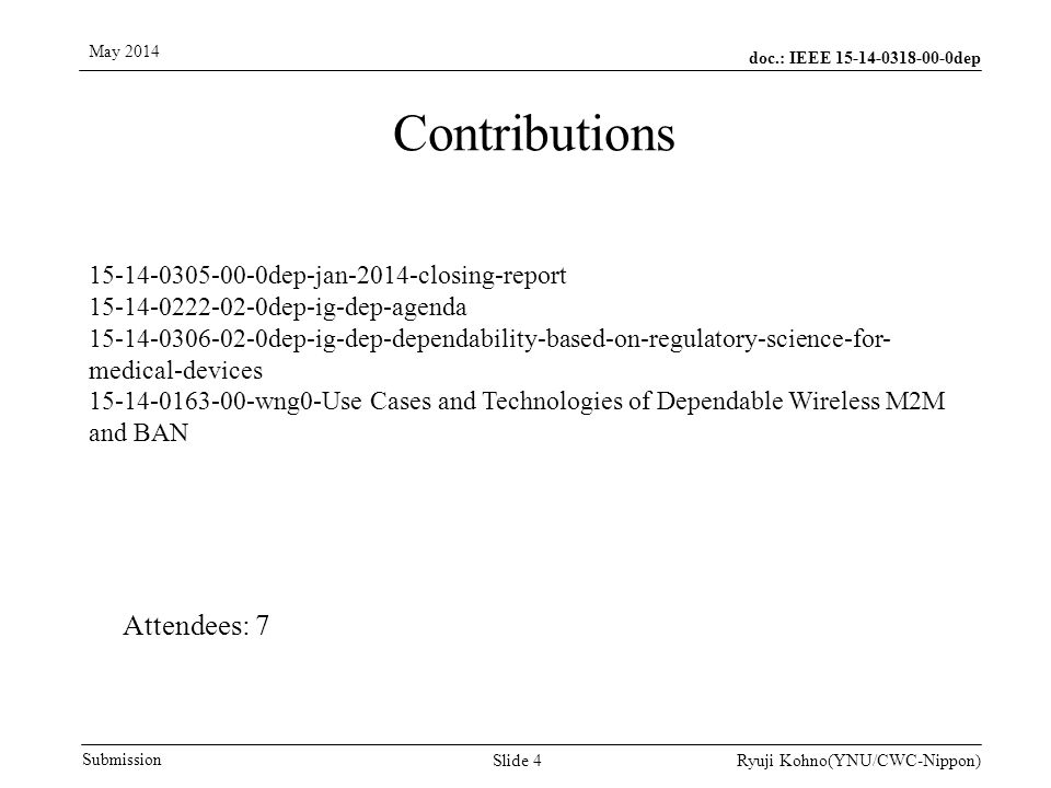 doc.: IEEE 15-14-0318-00-0dep Submission May 2014 Ryuji Kohno(YNU/CWC-Nippon) Thank You .