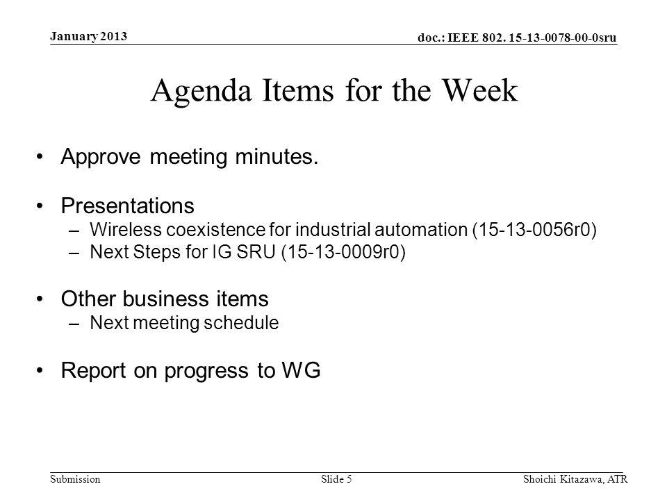 doc.: IEEE 802. 15-13-0078-00-0sru Submission January 2013 Shoichi Kitazawa, ATRSlide 5 Agenda Items for the Week Approve meeting minutes. Presentatio
