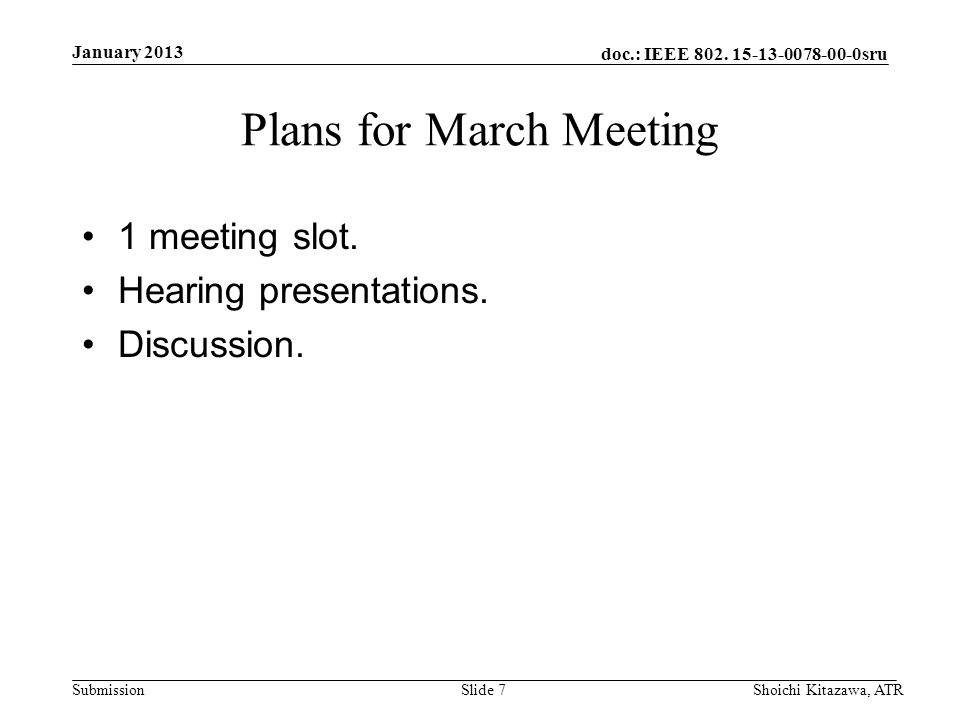 doc.: IEEE 802. 15-13-0078-00-0sru Submission Plans for March Meeting 1 meeting slot.