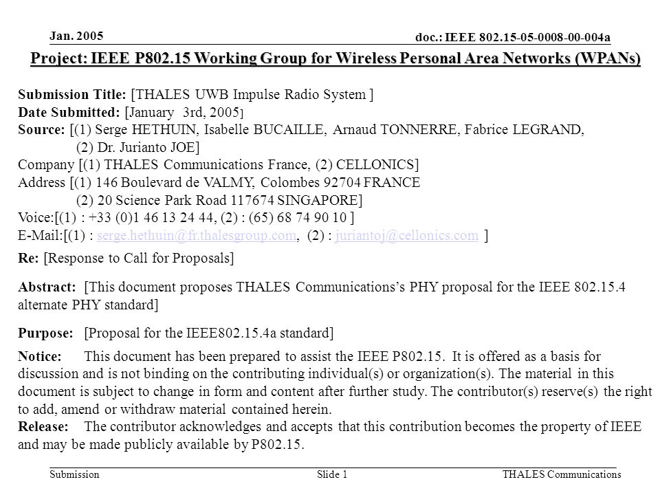 doc.: IEEE 802.15-05-0008-00-004a Submission Jan.