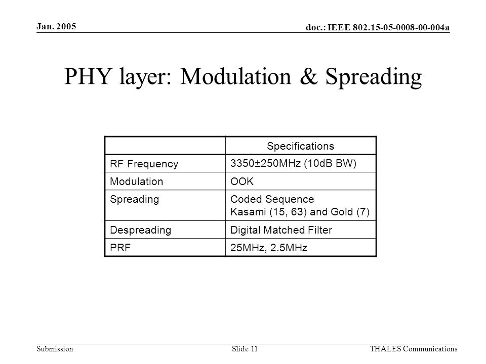 doc.: IEEE 802.15-05-0008-00-004a Submission Jan. 2005 THALES CommunicationsSlide 11 PHY layer: Modulation & Spreading Specifications RF Frequency3350