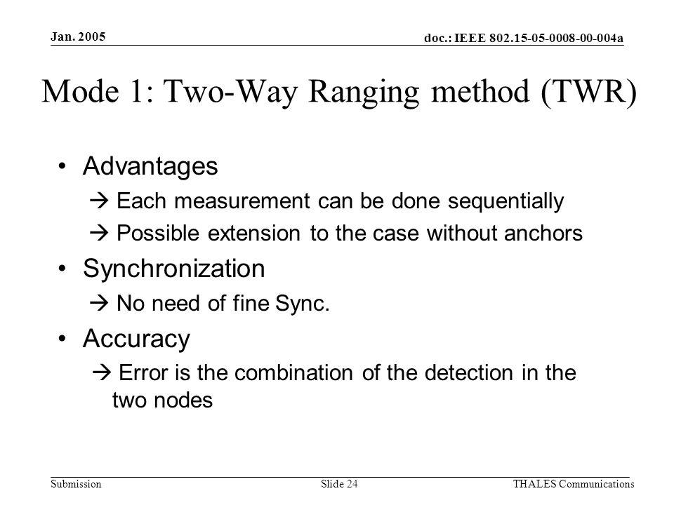 doc.: IEEE 802.15-05-0008-00-004a Submission Jan. 2005 THALES CommunicationsSlide 24 Mode 1: Two-Way Ranging method (TWR) Advantages  Each measuremen