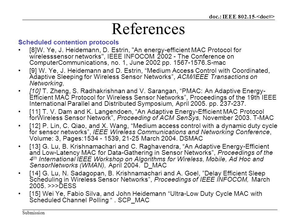 doc.: IEEE Submission References Scheduled contention protocols [8]W.