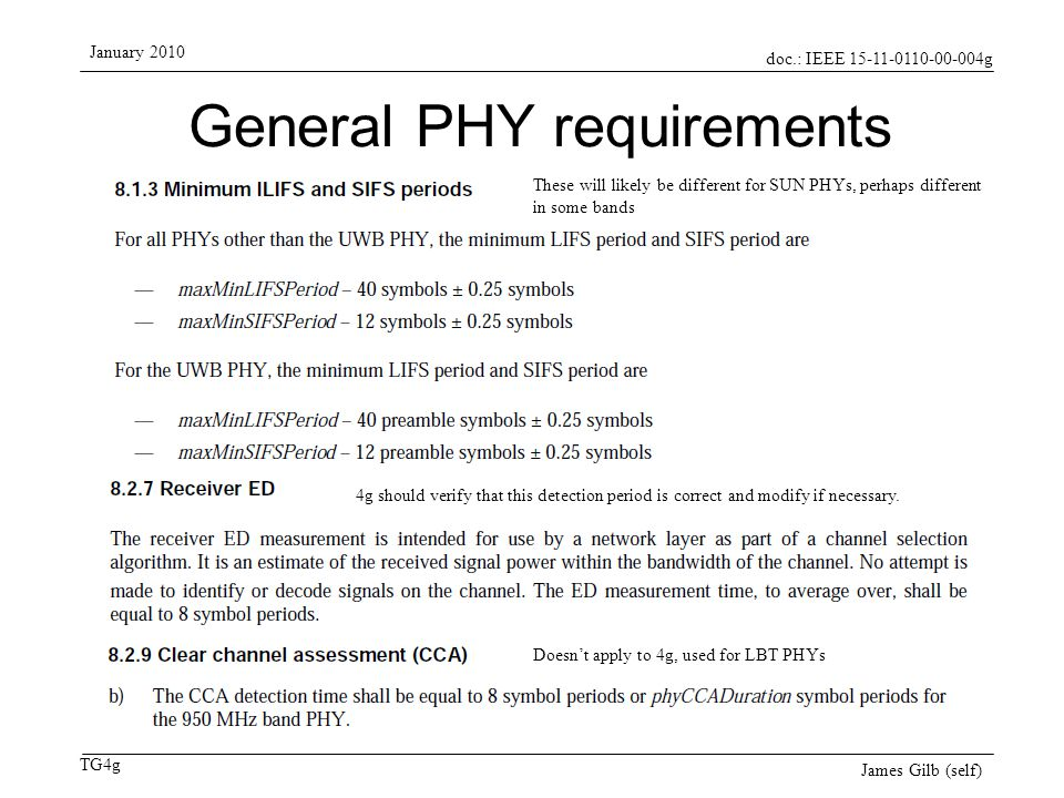 doc.: IEEE 15-11-0110-00-004g TG4g January 2010 James Gilb (self) General PHY requirements 4g should verify that this detection period is correct and modify if necessary.