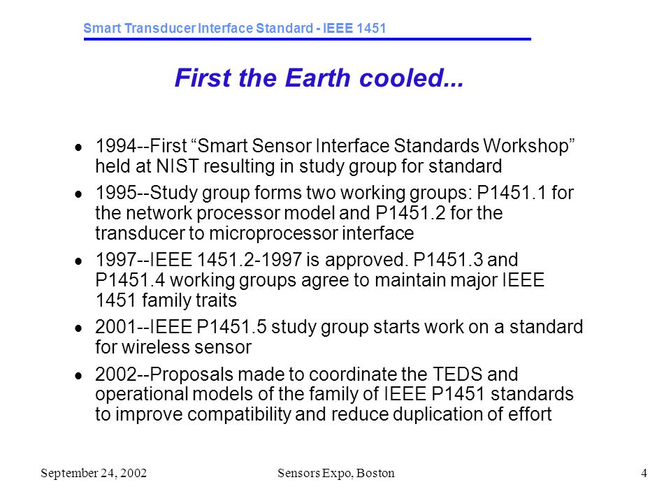 Smart Transducer Interface Standard - IEEE 1451 September 24, 2002Sensors Expo, Boston5 1997 Architecture Guidelines  Interfaces are defined, not modules  Modules may support multiple interfaces  Higher-level standards must be maintained  At that time this meant providing a way to generate a 1451.2 TEDS  Partitioning is invisible beyond the immediate interface  A module or network device should not have to know or care what interfaces are implemented past the immediate one  Hot swaps must be allowed and passed on  Each standard must support a way to simulate the hot swap of a transducer and force the network-side device to accept the updated TEDS
