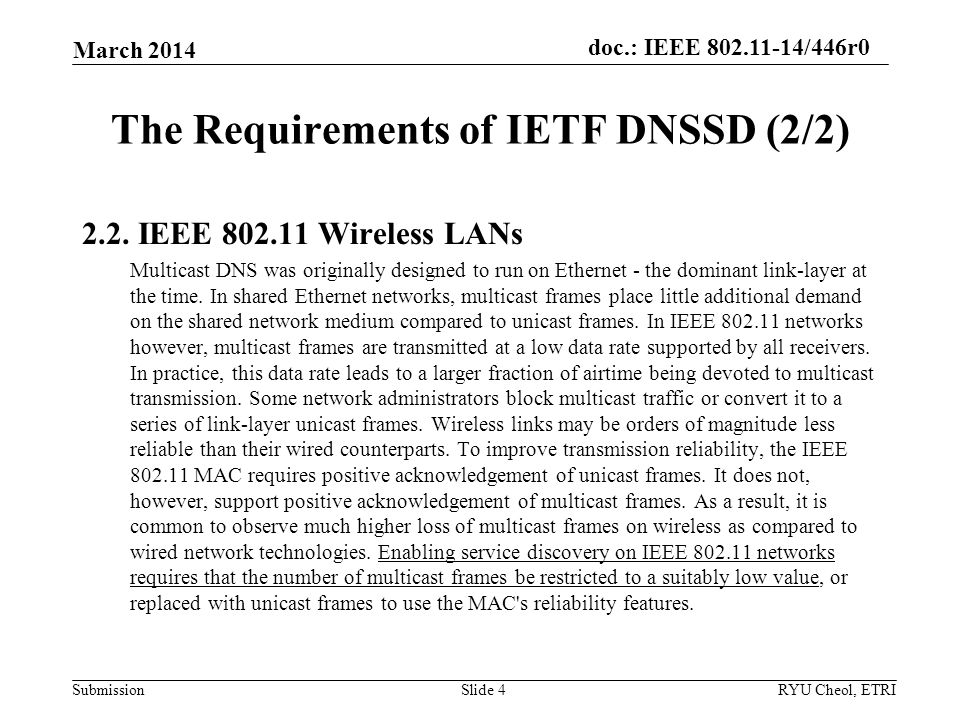 Submission doc.: IEEE /446r0 The Requirements of IETF DNSSD (2/2) March 2014 RYU Cheol, ETRISlide