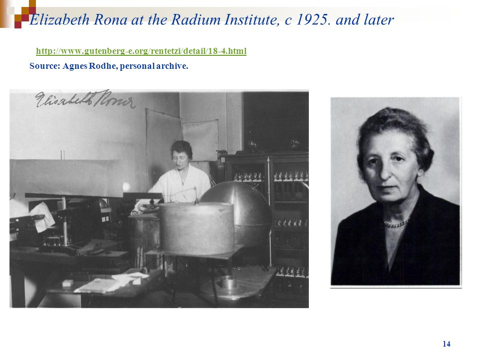 Elizabeth Rona at the Radium Institute, c 1925.