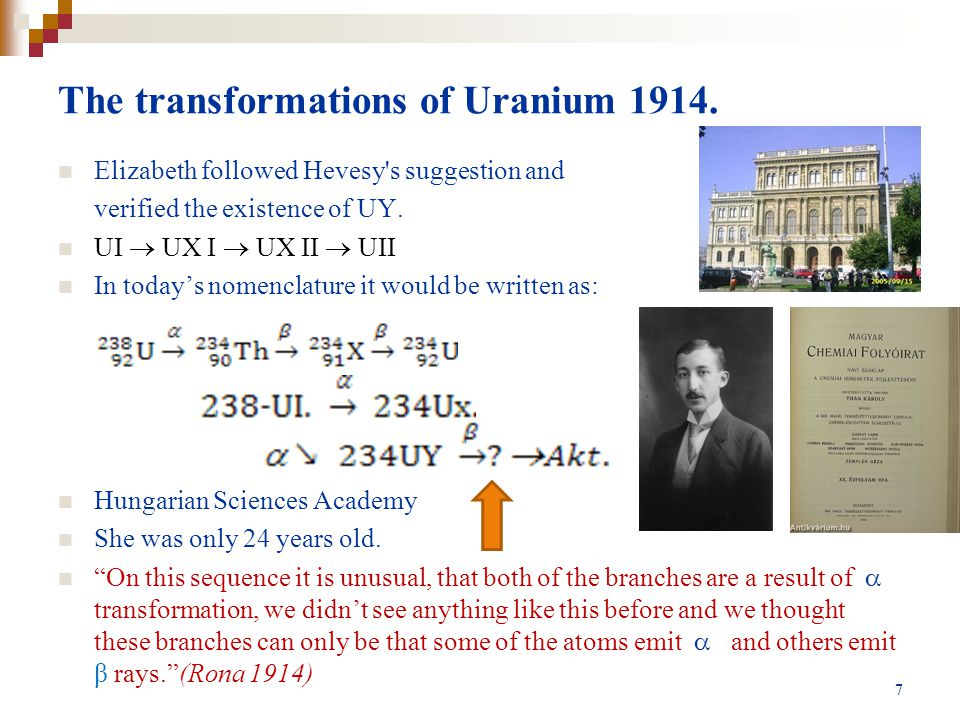The transformations of Uranium 1914.
