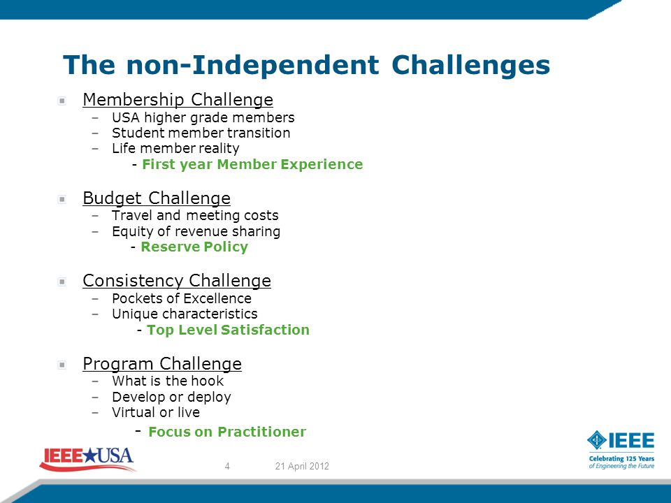 The non-Independent Challenges Membership Challenge –USA higher grade members –Student member transition –Life member reality - First year Member Experience Budget Challenge –Travel and meeting costs –Equity of revenue sharing - Reserve Policy Consistency Challenge –Pockets of Excellence –Unique characteristics - Top Level Satisfaction Program Challenge –What is the hook –Develop or deploy –Virtual or live - Focus on Practitioner 21 April 20124