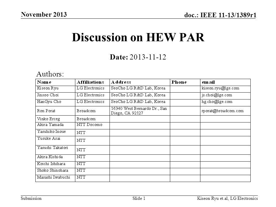 Submission doc.: IEEE 11-13/1389r1 November 2013 Kiseon Ryu et.al, LG ElectronicsSlide 1 Discussion on HEW PAR Date: 2013-11-12 Authors: